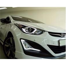 Штатные дневные ходовые огни DRL LED-DRL для Hyundai Elantra 2014-2016 (ДХО + ПТФ)