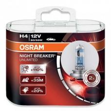 Галогенная лампа Osram H4 NIGHT BREAKER UNLIMITED +110% 12V 64193NBU-HCB DUO (2шт.)